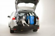 MIM Safe Variocage Single Crash Tested Dog Cage with Dog and Luggage