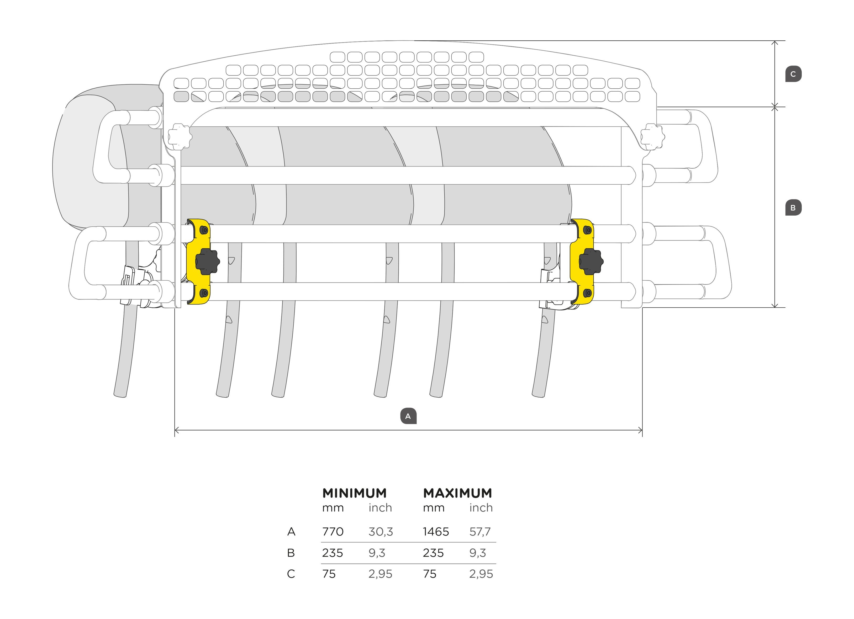 VarioBarrier headrest Dimensions
